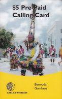 BERMUDA ISL. - Bermuda Gombeys, C & W Prepaid Card $5(barcode At Centre), Used - Bermude