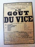 LE GOUT DU VICE  Par Henri Lavedan  (origine : L'ILLUSTRATION  THÉÂTRALE 19011 )  Dos Illustré Pub MICHELIN - Theatre