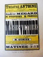 MARIE-VICTOIRE, Par Edmond Guiraud   (origine : L'ILLUSTRATION  THÉÂTRALE 19011 )  Dos Illustré Pub MICHELIN - Theatre