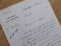 Louis ARMEZ (1838-1917) Maire PLOURIVO. Député SAINT BRIEUC. Paimpol. AUTOGRAPHE - Autographs