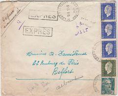 Lettre Recommandée Manuelle / Expres / 1945 / Petite Griffe De Saint-Loup Sur Semouse 70 / Marianne Dulac - Marcofilie (Brieven)
