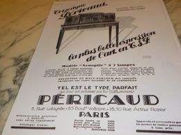 ANCIENNE PUBLICITE L ART EN TSF PERICAUD 1928 - Radio & TSF