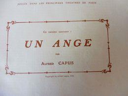 UN ANGE, Par Alfred Capus,Eve Lavallière (orig  :L'ILLUSTRATION  THÉÂTRALE 1910);Pub Carrosserie Auto BELVALLETTE & Cie - Theatre
