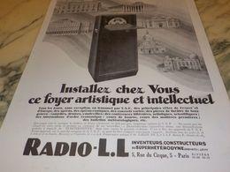 ANCIENNE PUBLICITE INSTALLEZ CHEZ VOUS RADIO LL 1928 - Radio & TSF