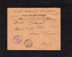 1904 -Entête Sellerie, Bourrellerie, Harnachement - PALEIX ROUDAIRE à VOLVIC (Puy De Dôme )- Cachet VOLVIC Sur YT 125 - 1921-1960: Moderne