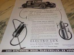 ANCIENNE PUBLICITE AUTOMOBILE ET  ELECTRO LUX 1928 - Wissenschaft & Technik