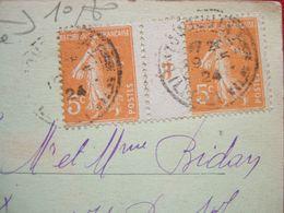 """N° 158  X 2 : MILLESIME 3 SUR CARTE POSTALE DE LA BAZOUGES LA PEROUSE  ( 35 ) - """"  RARE """" - - 1921-1960: Modern Period"""