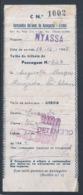 Travel Ticket For NYASSA Package From Lisbon / Luanda From Companhia Nacional De Navegação 1945. Palindromo Capicua 626 - Billets D'embarquement De Bateau