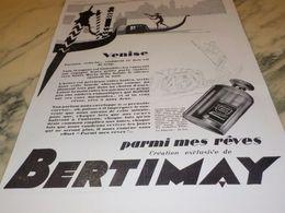 ANCIENNE PUBLICITE VENISE PARFUM   DE BERTIMAY 1928 - Parfums & Beauté