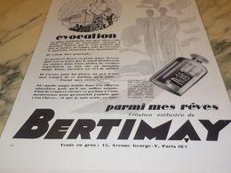 ANCIENNE PUBLICITE  PARFUM EVOCATION   DE BERTIMAY 1928 - Parfums & Beauté