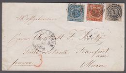 1857. Dotted Spandrels. 22 Skilling Franking To Frankfurt Am Main From KIØBENHAVN 6/1... (Michel 6, 4, 3) - JF362524 - Lettres & Documents