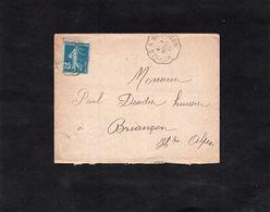 LAC 1921 - Convoyeur  VEYNES à BRIANCON  Sur Semeuse 25c Bleu - Correo Ferroviario