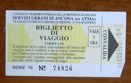 ITALIA Ticket  Bus  Biglietto ATMA Ancona - 1 Ora  Pubblicità Avis Usato - Europe