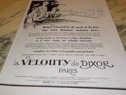 ANCIENNE PUBLICITE SPORT JEU ET VELOUTY DE DIXOR PARIS 1928 - Parfums & Beauté