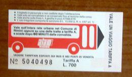 ITALIA Ticket  Bus  Biglietto ATAM Rimini -  Nuovo Lire 700 Pubblicità Giornale La Pulce - Europe