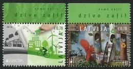 "LETONIA/ LATVIA/ LETTLAND -  EUROPA 2016 -TEMA ANUAL "" ECOLOGIA -EL PENSAMIENTO VERDE -THINK GREEN""- SERIE De 2 V. - 2016"