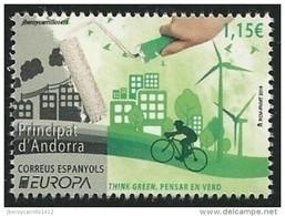 """ANDORRA ESPAÑOLA/ SPANISH ANDORRA-  EUROPA 2016 -TEMA """" ECOLOGIA - EL PENSAMIENTO VERDE - THINK GREEN"""".- SERIE De 1 V. - 2016"""