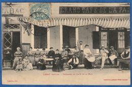 RARE CPA 09 LEZAT (Ariège) - Terrasse Du Café De La Paix - Lezat Sur Leze