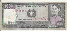 BOLIVIE 1000 PESOS BOLIVIANOS  D1982 VF P 167 - Bolivia