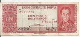 BOLIVIE 100 PESOS 1962 VF P 164A - Bolivien