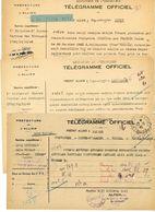 TELEGRAMME OFFICIEL 1945 MOULINS SUR ALLIER ETIQUETTE X 3 EXEMPLAIRES - 1921-1960: Periodo Moderno
