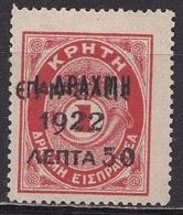GREECE 1923 1922 Overprint On Cretan Postage Due Of 1901 : 50 L / 1 Dr. + 1 Dr.  Red MH Vl. 384 - Greece