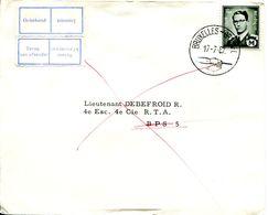14167202 BE 19670717 Bx; Baudouin Marchand 1,50bef, Timbre Militaire; Pli Fdc Cob M1 + Retour-terug - Military (M Stamps)