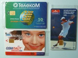 RUSSIA / USSR - Chip - ST PETERSBURG - Leningrad - Group Of 3 - Tennis Open, GSM Light, North West Tel - Mint Blister - Russie