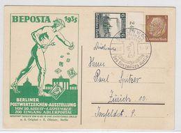 """Deutsches Reich Sonderkarte """"BEPOSTA""""1935 Mit MIF Nach Zürich SST - Duitsland"""