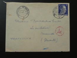 Lettre Cover 25c Hitler Oblit. Markstadt Cachet Rouge AE Allemagne Germany 1943 - Germany