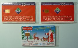 RUSSIA / USSR - Chip - ST PETERSBURG - Leningrad - Group Of 3 - Fairytale Treasure, Father Xmas, Wherever - Mint Blister - Russie