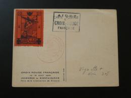Carte Avec Vignette Aidez La Croix Rouge Dinard 35 Ile Et Villaine 1948 - Commemorative Labels