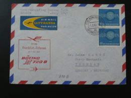 Lettre Premier Vol First Flight Cover Frankfurt --> Teheran Iran Boeing 720B Lufthansa Europa 1961 - BRD