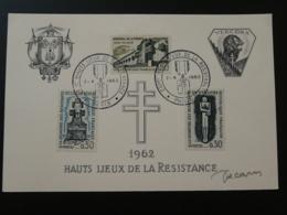 Carte Commemorative Card Signée Decaris Hauts Lieux De La Résistannce 1962 (11.5 X 17.5xm) - WW2 (II Guerra Mundial)
