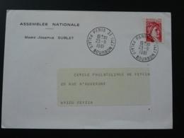 Lettre Assemblée Nationale Oblitération Paris Palais Bourbon 1981 (ex 2) - Marcophilie (Lettres)