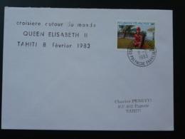 Lettre Croisière Du Paquebot Queen Elisabeth II Escale à Tahiti Polynésie 1983 - Polynésie Française