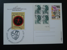 Carte Commemorative Avec Reproduction De Vignette Delandre Tir à L'arc Armée De L'Air Bron 69 Rhone 1984 - Tir à L'Arc
