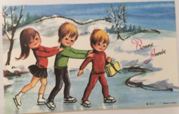 CP, Bonne Année, éd JLP, Format 8 X 13, Illustration , Enfants, Patinage, Paillettes - Año Nuevo