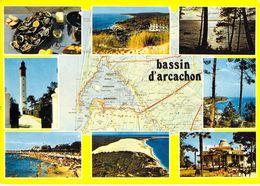 33 - Bassin D'Arcachon - Carte Géographique - Multivues - Arcachon