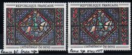 YT N° 1427 - Lance Blanche, Bras Rouge + Normal - Neufs ** - Variedades: 1960-69 Nuevos