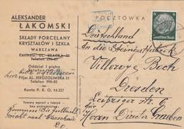 GG Frühe Post: 16.11.39 Warschau Nach Dresden - Steingutfabrik - Besetzungen 1938-45