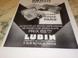 ANCIENNE PUBLICITE LA BOITE A POUDRE  DE LUBIN 1928 - Parfums & Beauté