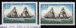YT N° 1446 - Mer Bleue Au Lieu De Verte + Normal - Neufs ** - Errors & Oddities
