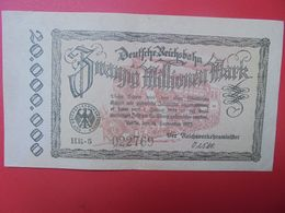 Deutsche Reichsbahn 20 MILLIONEN 1923 Circuler (B.14) - [ 3] 1918-1933 : República De Weimar