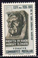 TURCHIA TURKÍA TURKEY 1961 FACULTY OF LANGUAGES HISTORY GEOGRAPHY UNIVERSITY OF ANKARA STATUE OF ATATURK  60k MNH - 1921-... Republic