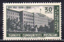 TURCHIA TURKÍA TURKEY 1961 FACULTY OF LANGUAGES HISTORY GEOGRAPHY UNIVERSITY BUILDING 30k MNH - 1921-... Republic