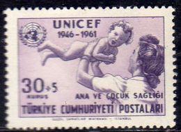 TURCHIA TURKÍA TURKEY 1961 UNICEF MOTHER AND HINFANT 30k +5k MNH - 1921-... Republic
