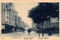 CASABLANCA (Maroc) - La Rue De Marseille - Marseille Street - Café National -photo Flandrin - Très Bon état - Non écrite - Casablanca