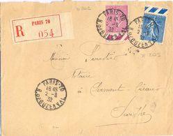 RECOMMANDÉ PARIS-70 R. DE BUZENVAL SEMEUSE LIGNÉE 75 C. Lilas-rose YT 202 + 1 F. Bleu YT 205 - 1921-1960: Modern Period