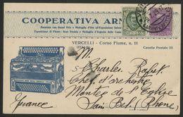 1929 ITALIE CARTOLINA PRIVATA ILLUSTRATA CON UNA FISARMONICA PER LA FRANCIA.  Lire La Suite De La Description - Storia Postale